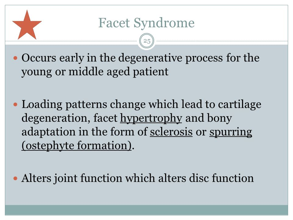 Facet Syndrome Occurs early in the degenerative process for the young or middle aged patient.