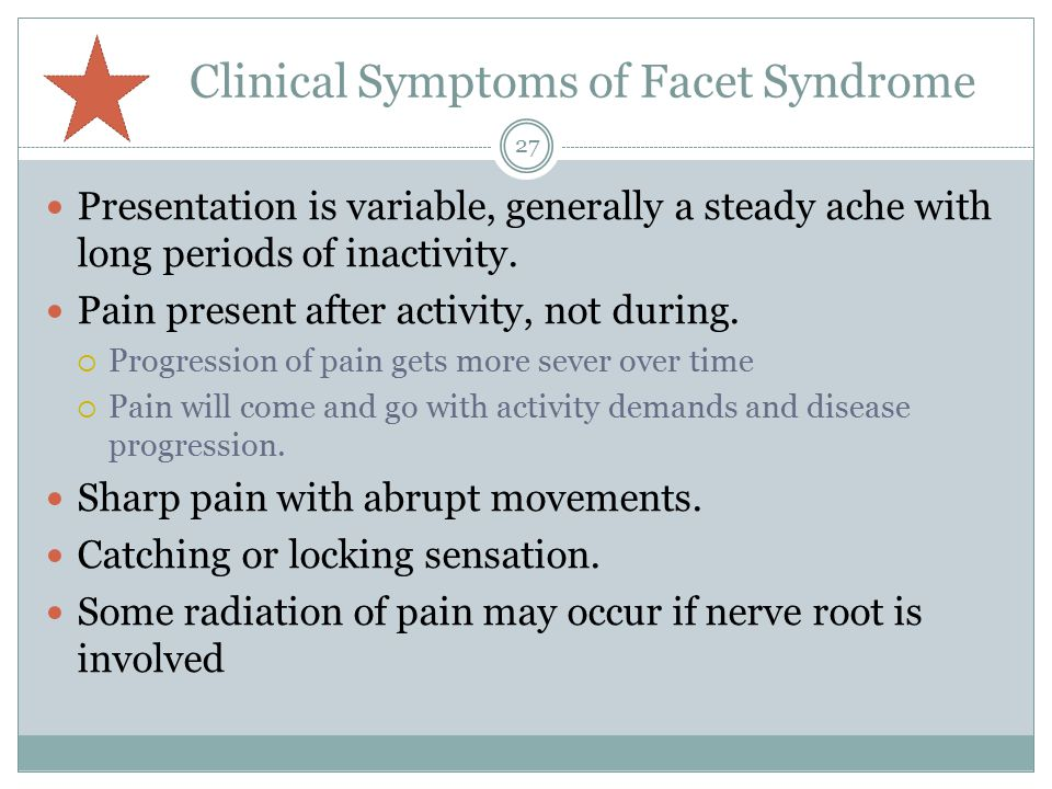 Clinical Symptoms of Facet Syndrome
