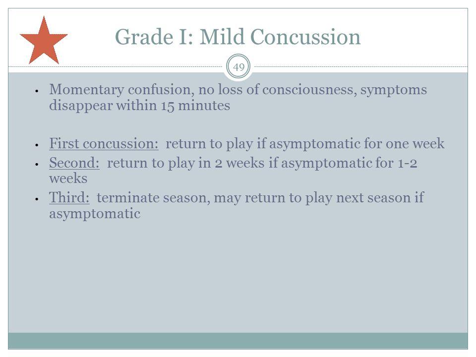 Grade I: Mild Concussion