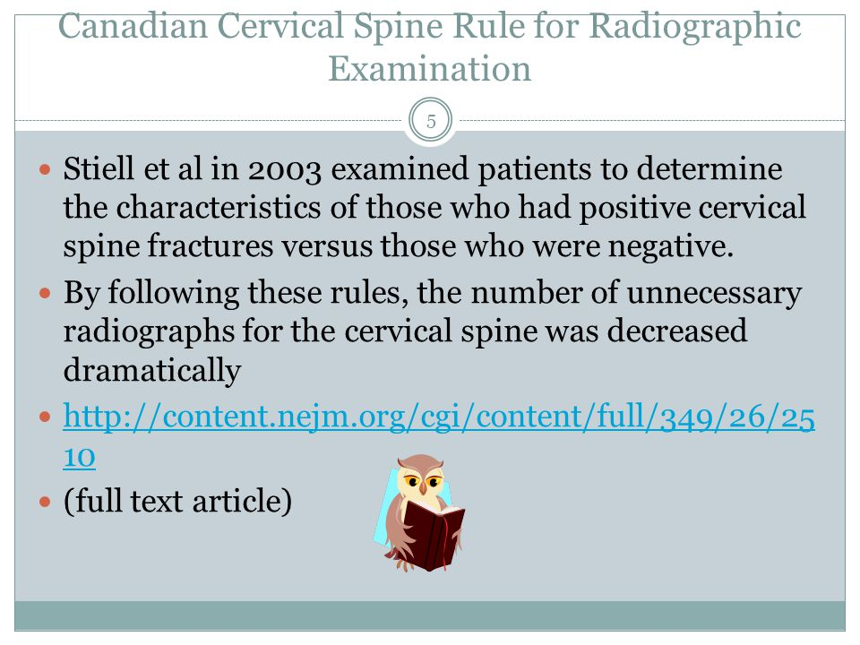 Canadian Cervical Spine Rule for Radiographic Examination