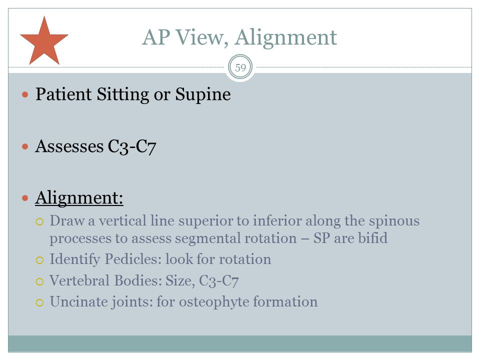 AP View, Alignment Patient Sitting or Supine Assesses C3-C7 Alignment: