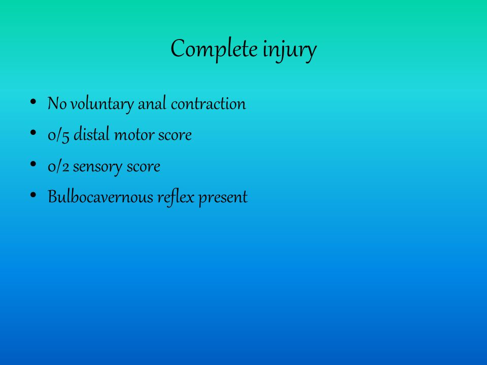 Complete injury No voluntary anal contraction 0/5 distal motor score