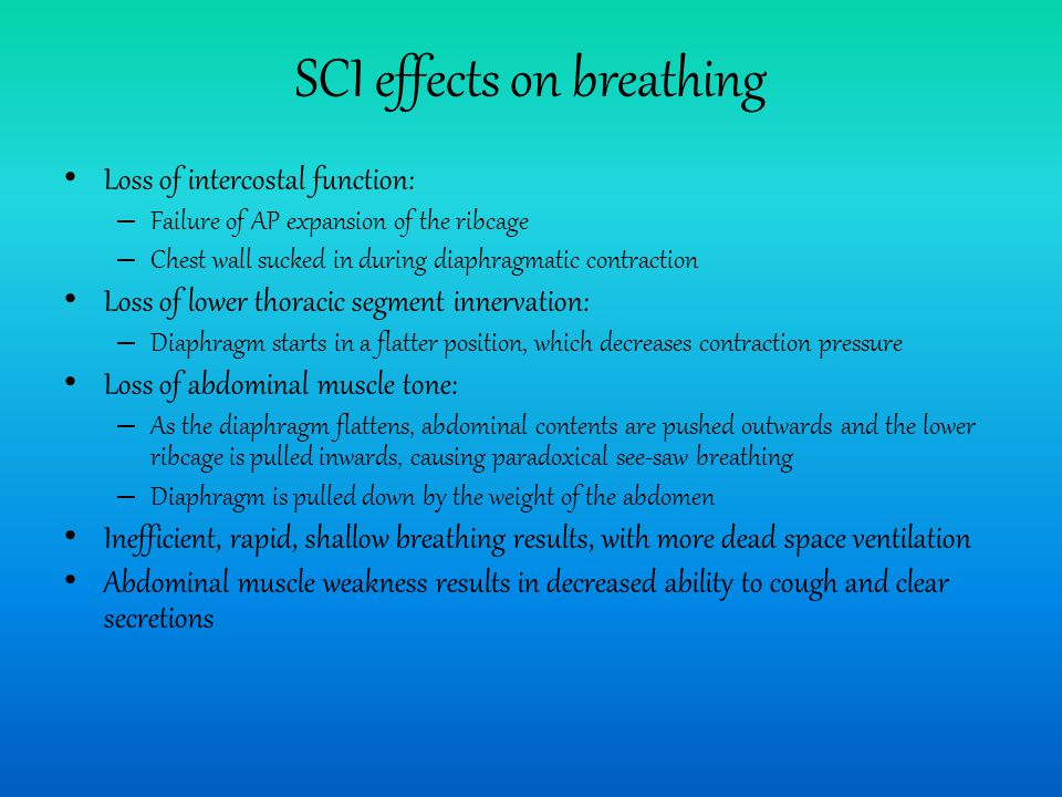SCI effects on breathing