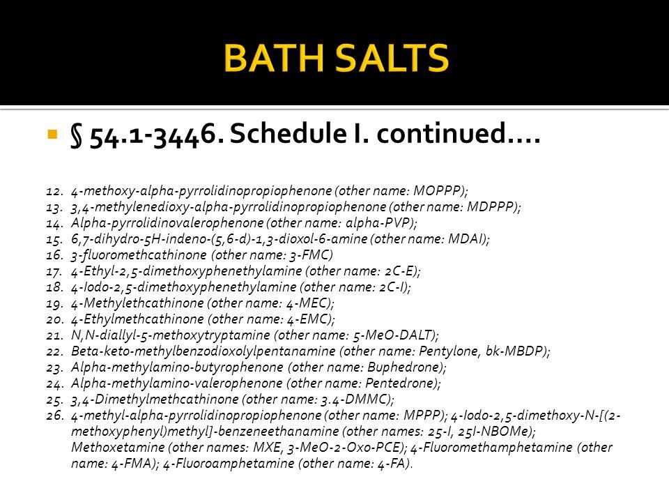 BATH SALTS § 54.1-3446. Schedule I. continued….