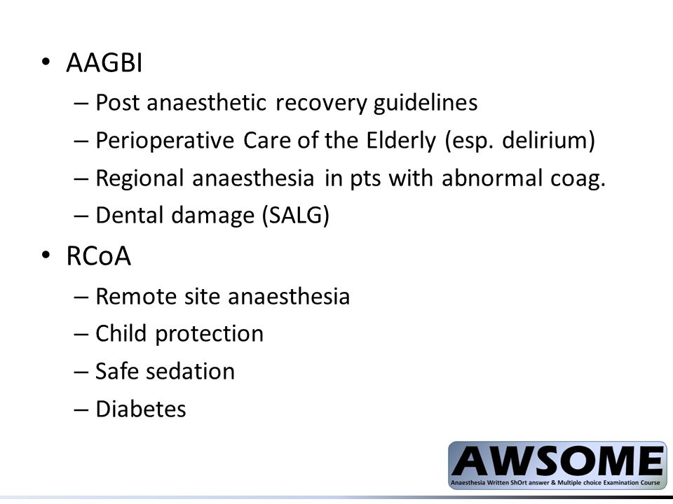 AAGBI RCoA Post anaesthetic recovery guidelines