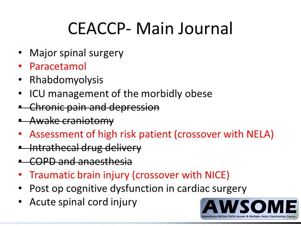 CEACCP- Main Journal Major spinal surgery Paracetamol Rhabdomyolysis