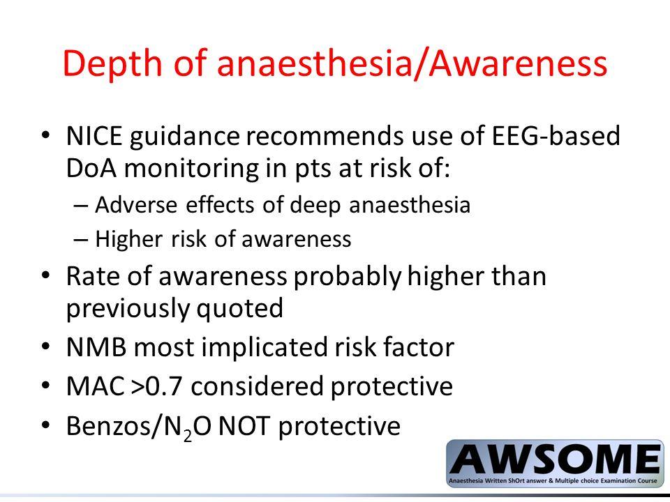 Depth of anaesthesia/Awareness