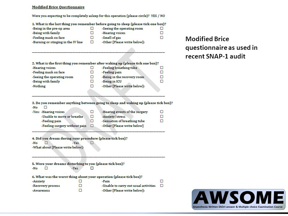 Modified Brice questionnaire as used in recent SNAP-1 audit
