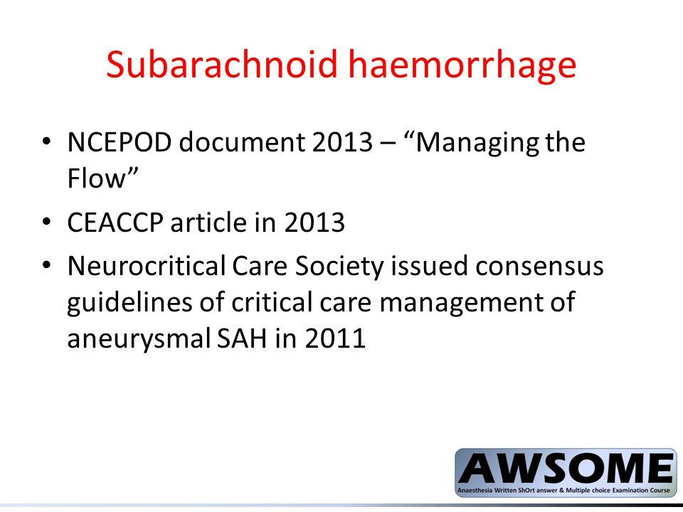 Subarachnoid haemorrhage