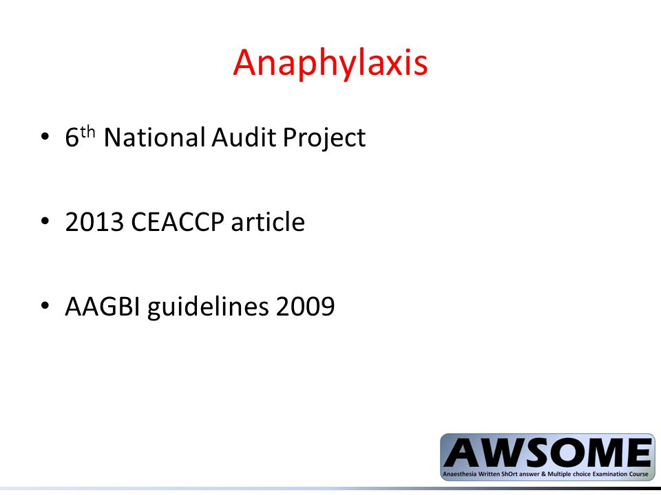 Anaphylaxis 6th National Audit Project 2013 CEACCP article