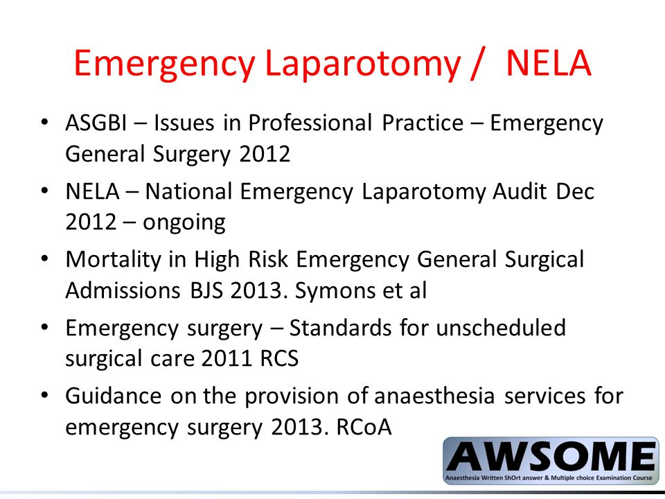 Emergency Laparotomy / NELA