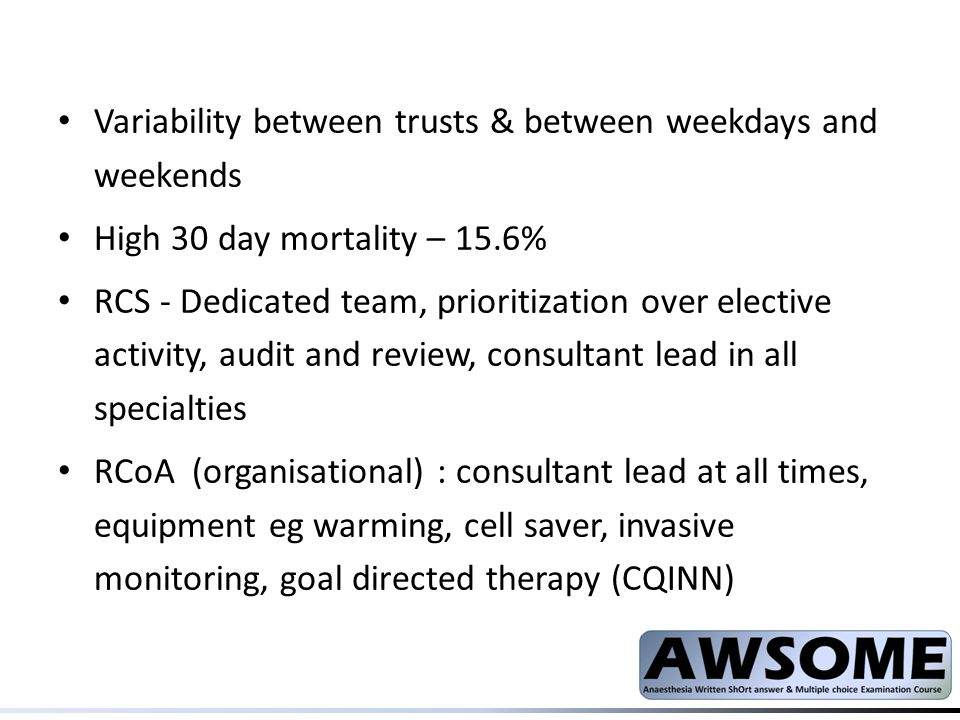 Variability between trusts & between weekdays and weekends