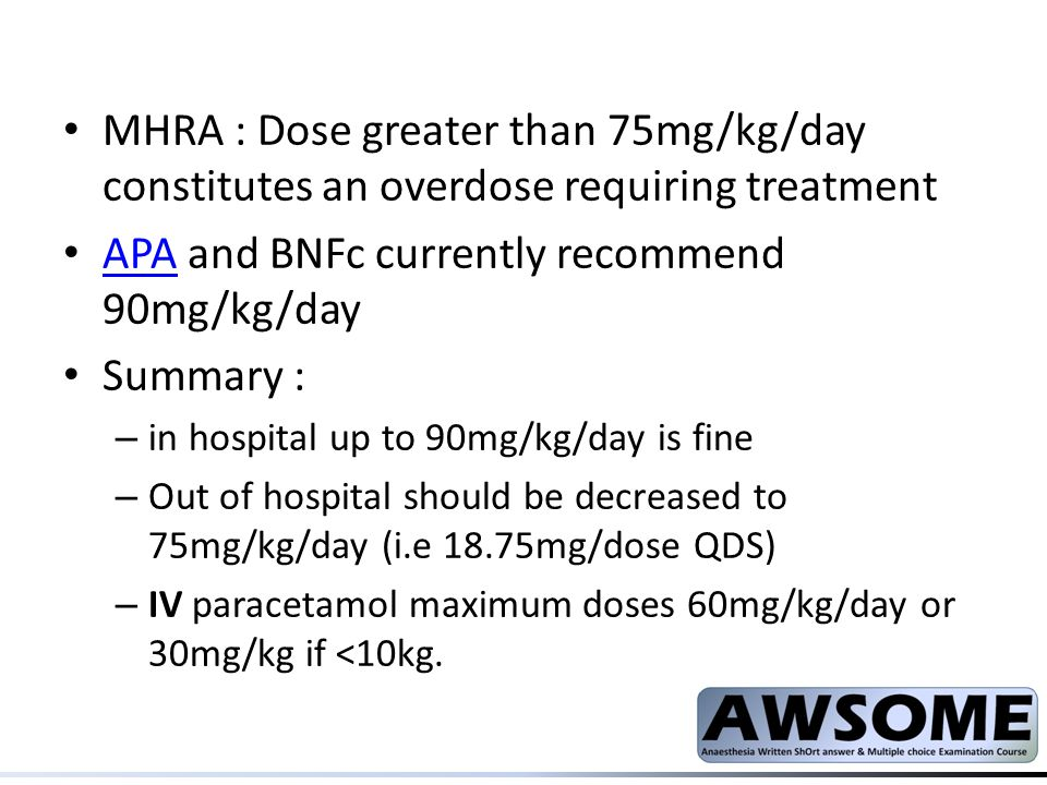 APA and BNFc currently recommend 90mg/kg/day Summary :