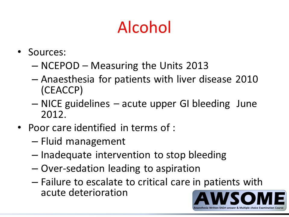 Alcohol Sources: NCEPOD – Measuring the Units 2013