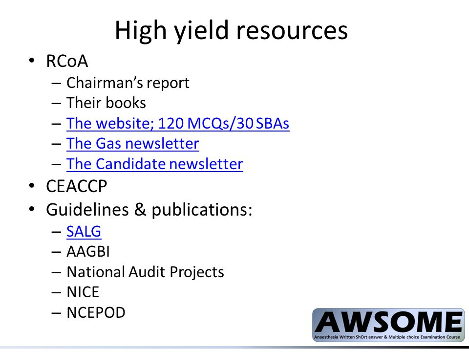 High yield resources RCoA CEACCP Guidelines & publications: