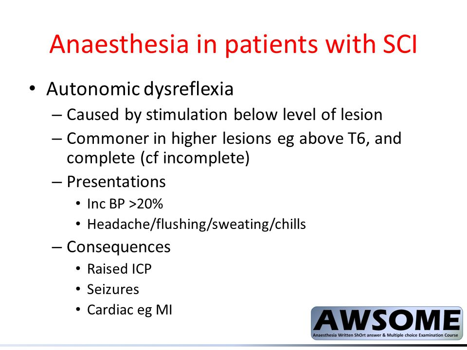 Anaesthesia in patients with SCI