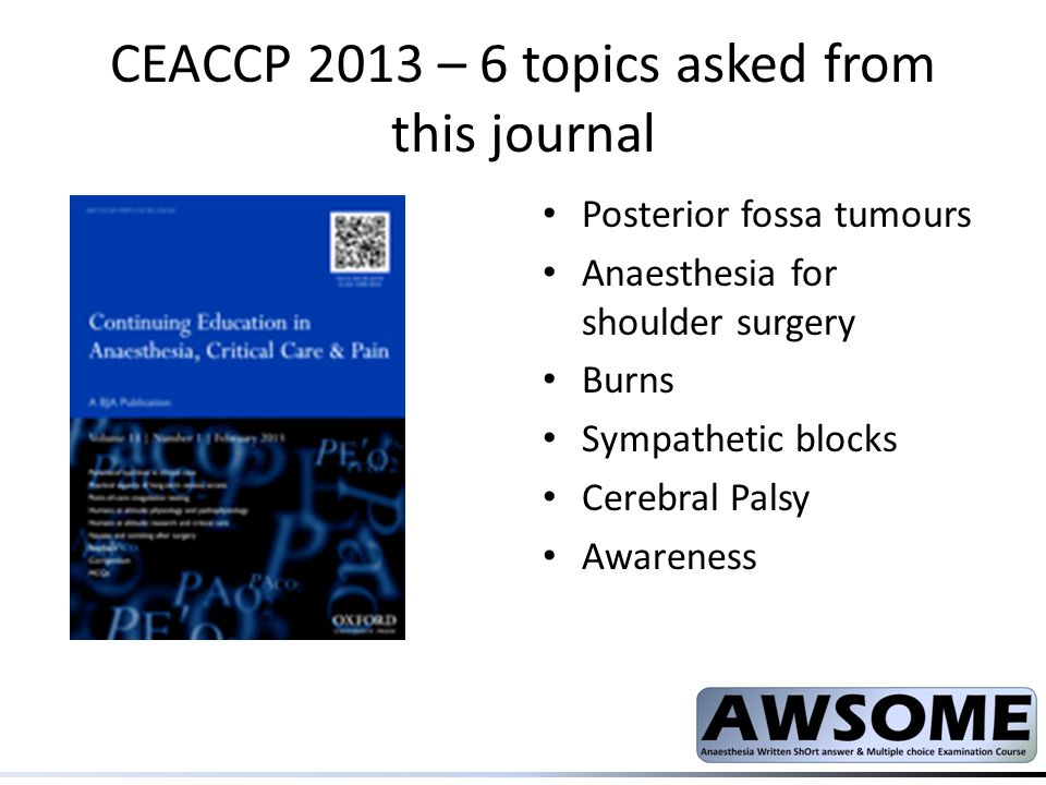 CEACCP 2013 – 6 topics asked from this journal