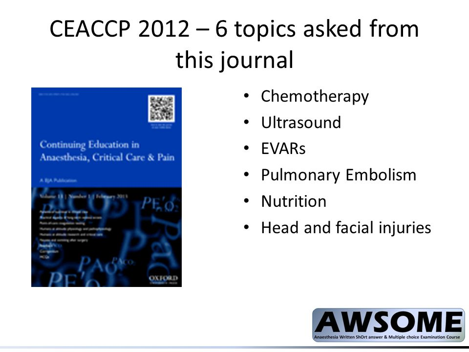 CEACCP 2012 – 6 topics asked from this journal