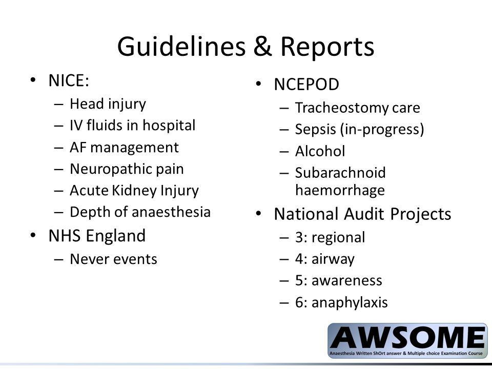 Guidelines & Reports NICE: NCEPOD National Audit Projects NHS England