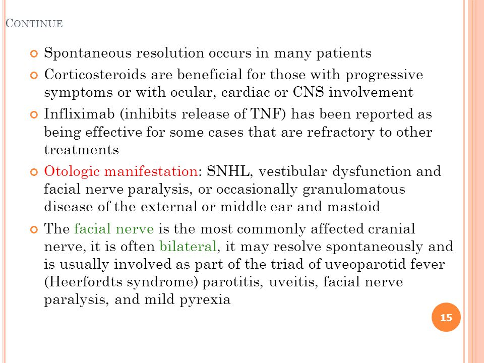 Spontaneous resolution occurs in many patients