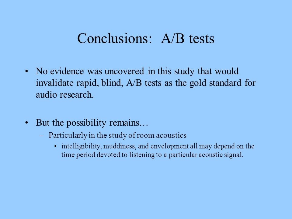 Conclusions: A/B tests