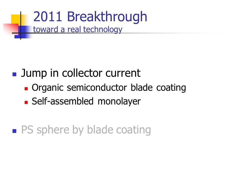 2011 Breakthrough toward a real technology