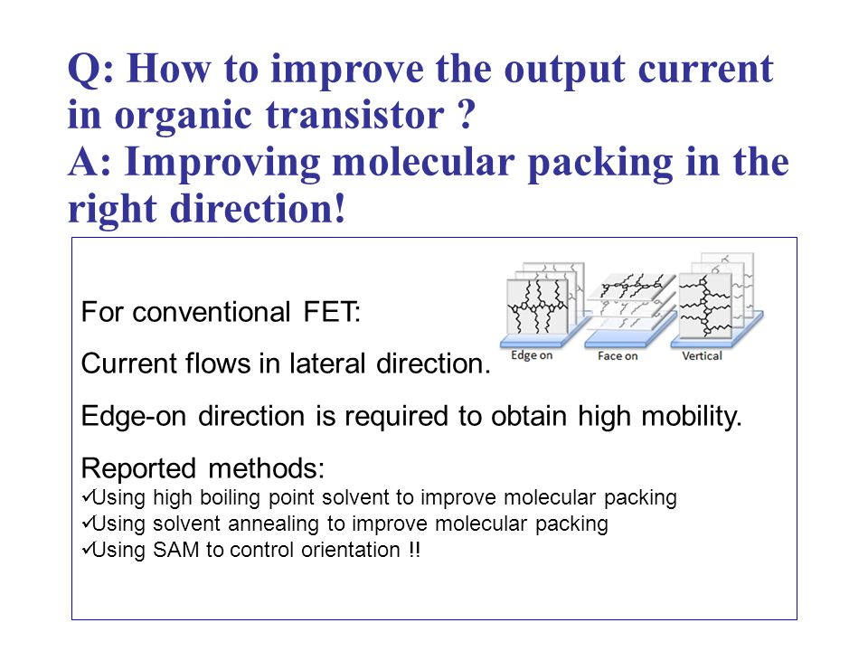Q: How to improve the output current in organic transistor