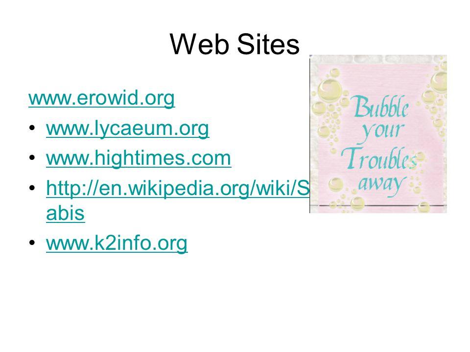 Web Sites www.erowid.org www.lycaeum.org www.hightimes.com