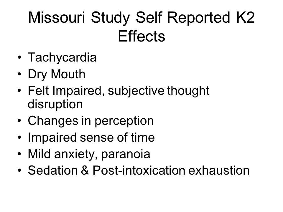 Missouri Study Self Reported K2 Effects