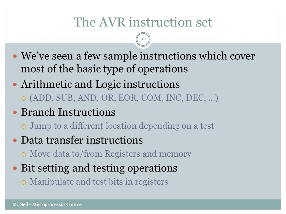 The AVR instruction set