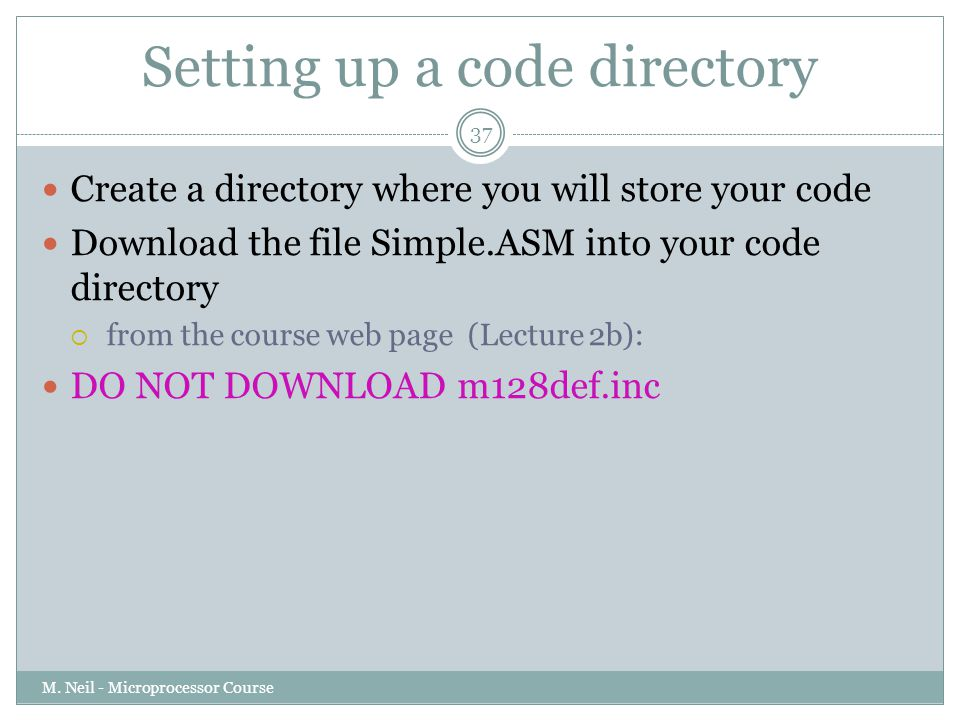 Setting up a code directory