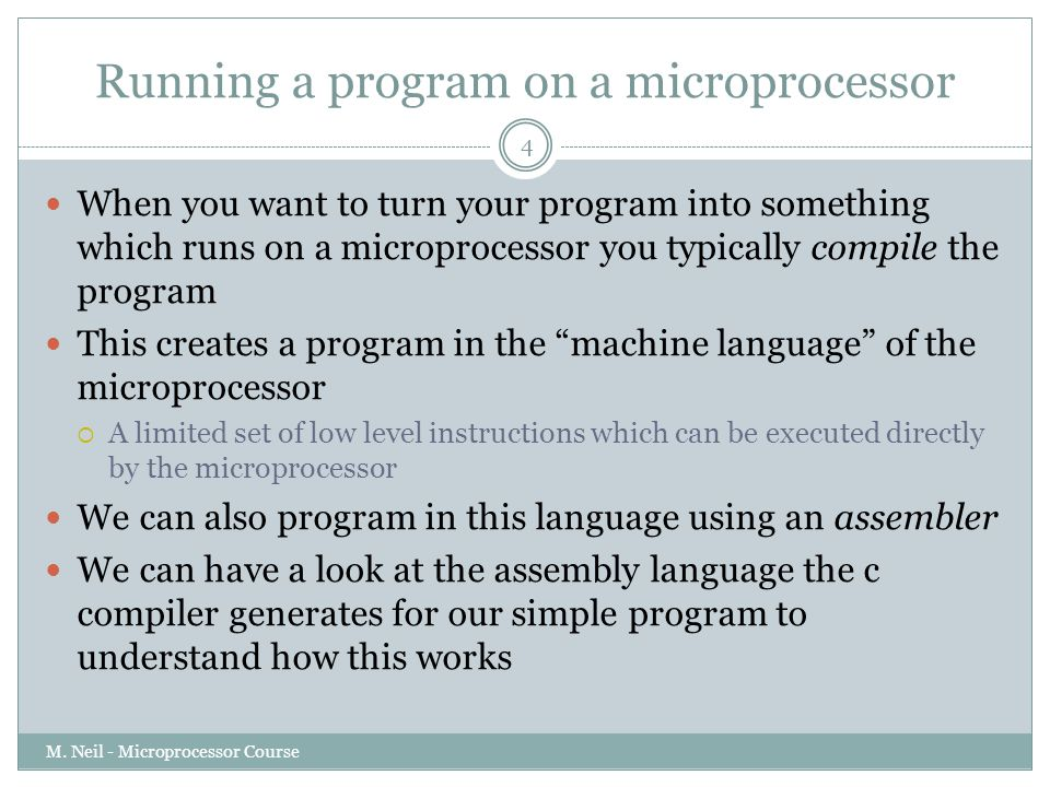 Running a program on a microprocessor