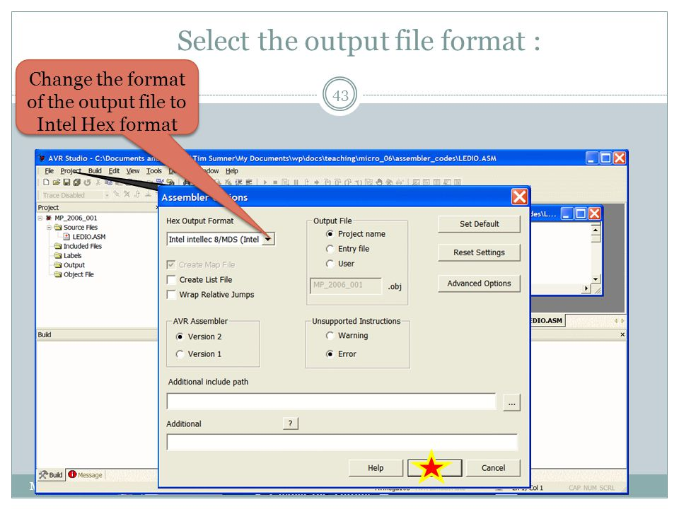 Select the output file format :