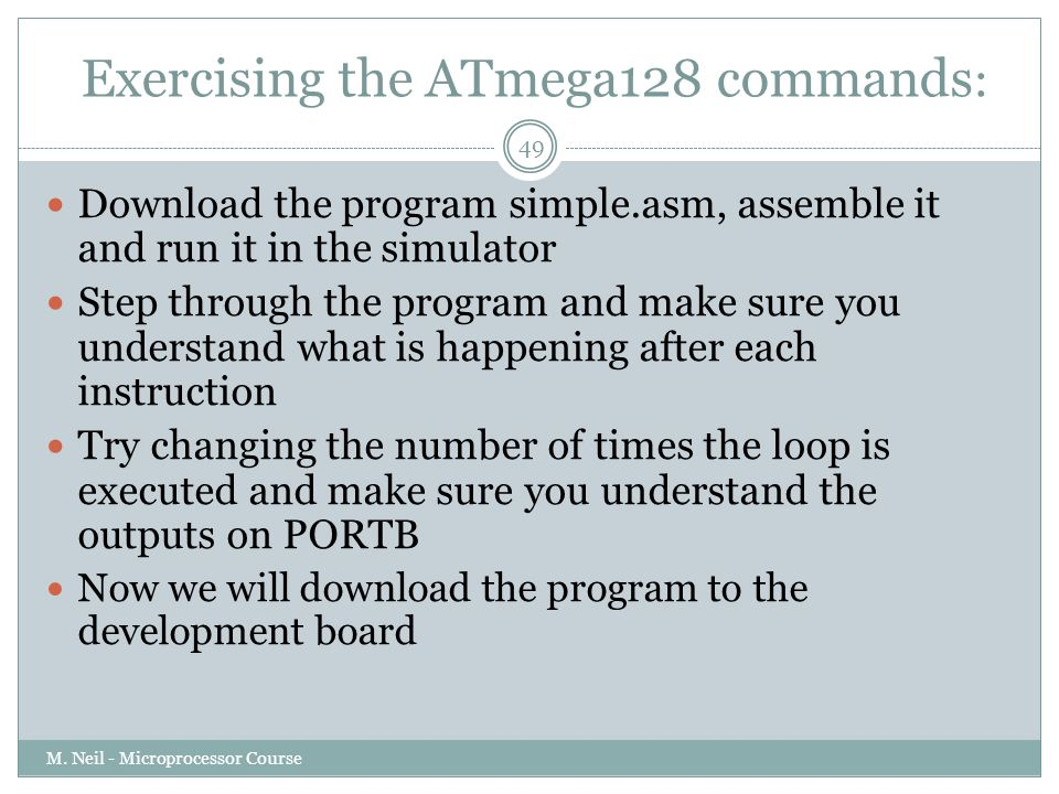 Exercising the ATmega128 commands: