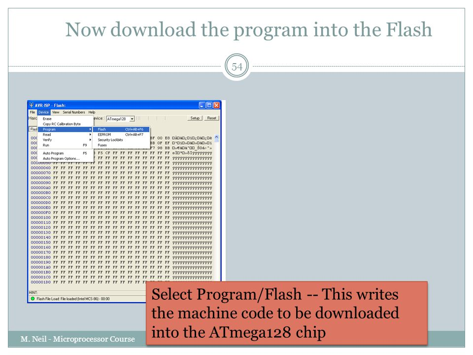 Now download the program into the Flash
