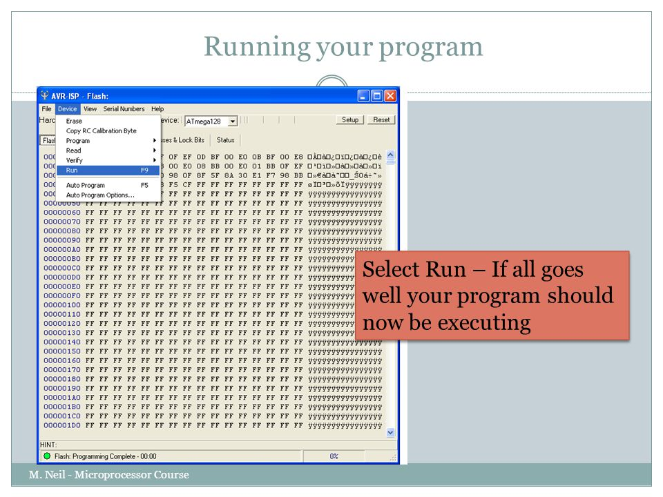 Running your program Select Run – If all goes well your program should now be executing.