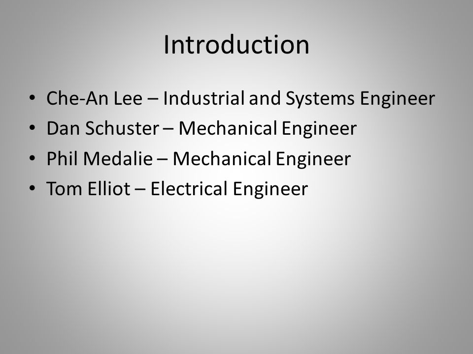 Introduction Che-An Lee – Industrial and Systems Engineer
