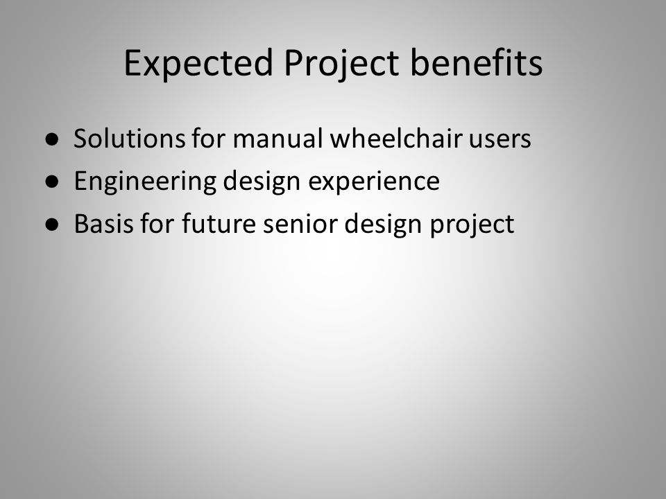 Expected Project benefits