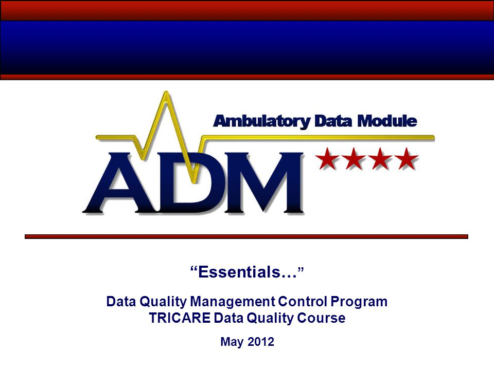 Data Quality Management Control Program TRICARE Data Quality Course