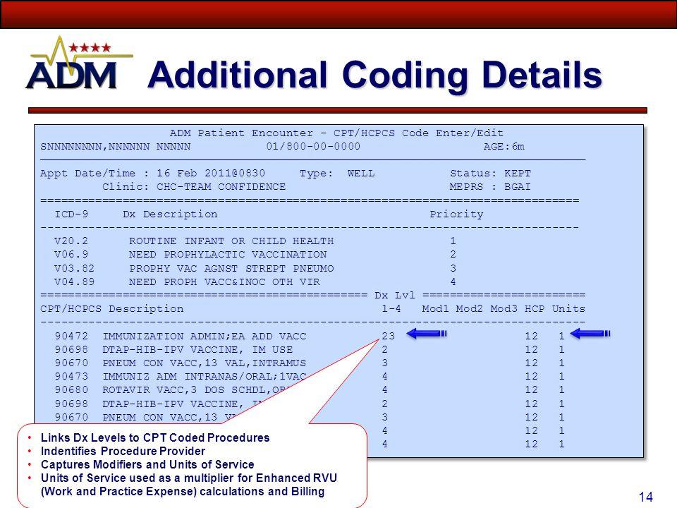 Additional Coding Details