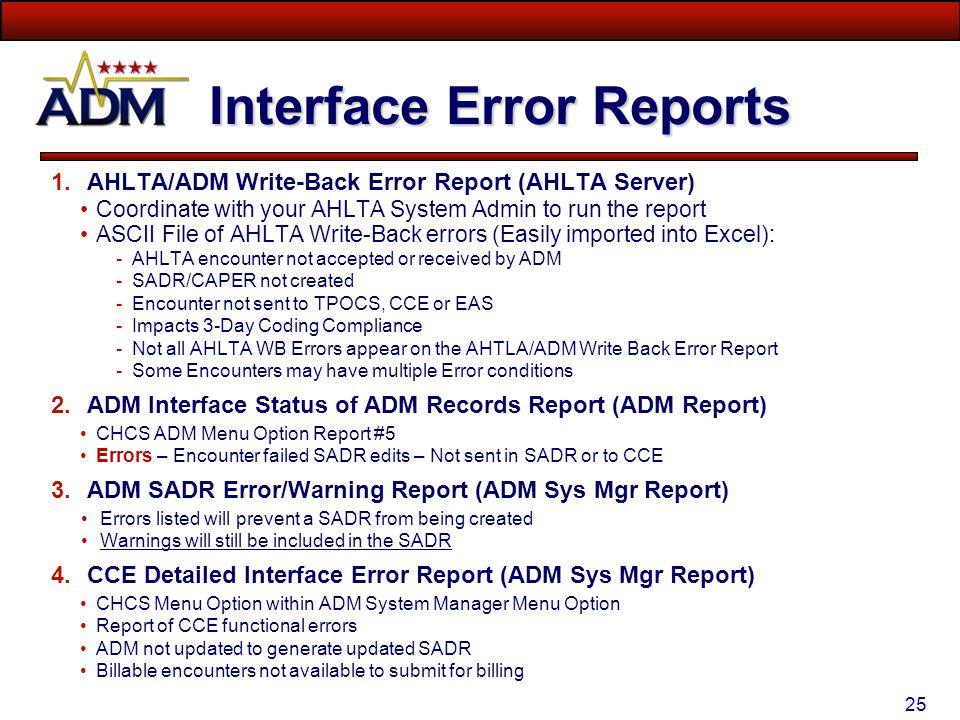 Interface Error Reports