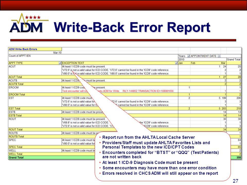 Write-Back Error Report