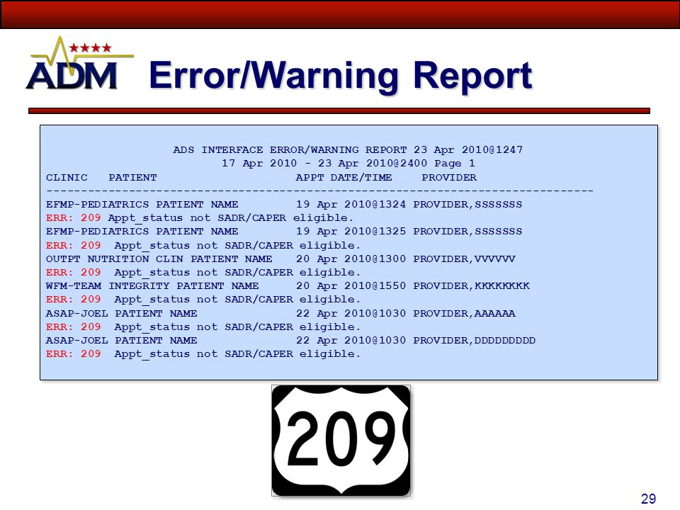 Error/Warning Report