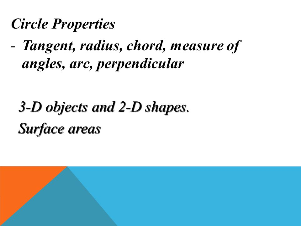 Circle Properties Tangent, radius, chord, measure of angles, arc, perpendicular. 3-D objects and 2-D shapes.