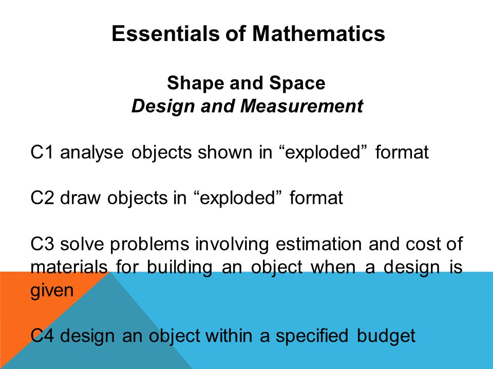 Essentials of Mathematics Design and Measurement