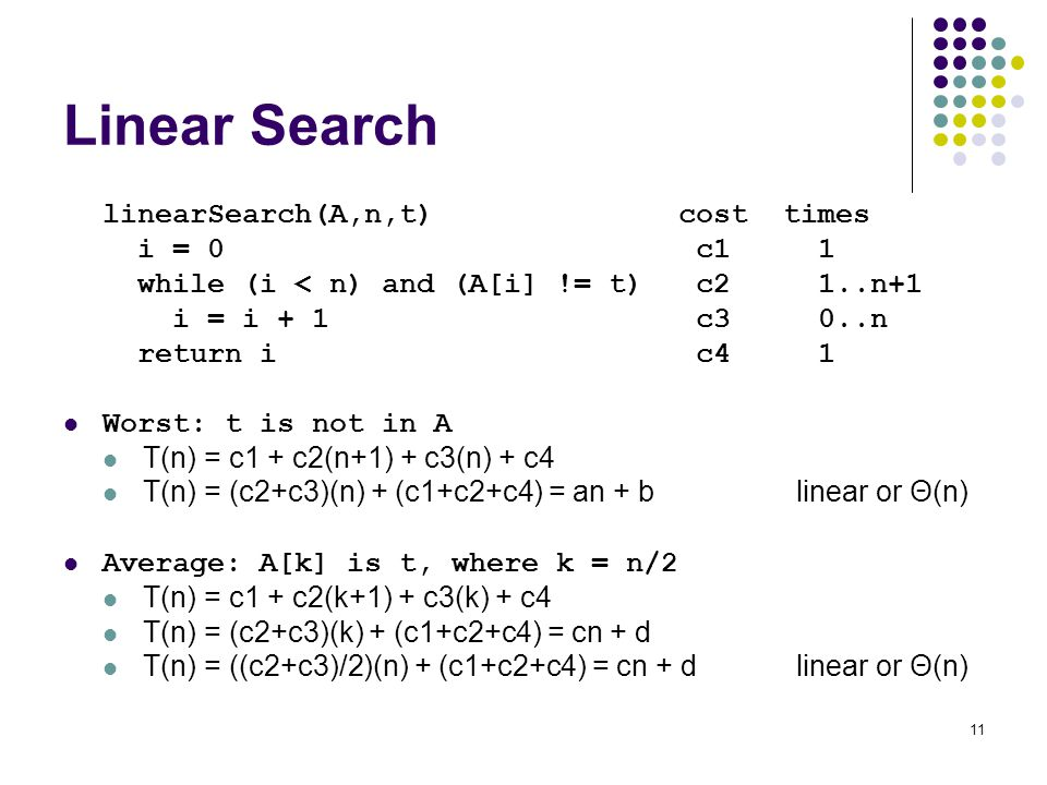 Linear Search linearSearch(A,n,t) cost times i = 0 c1 1