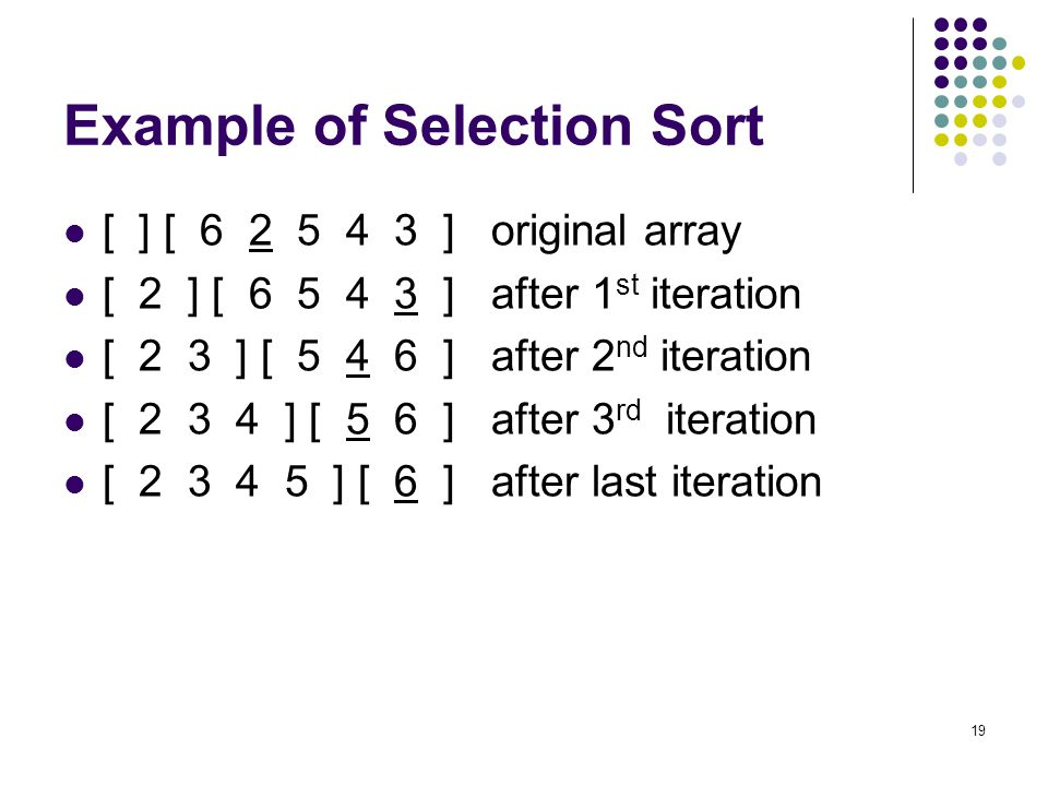 Example of Selection Sort