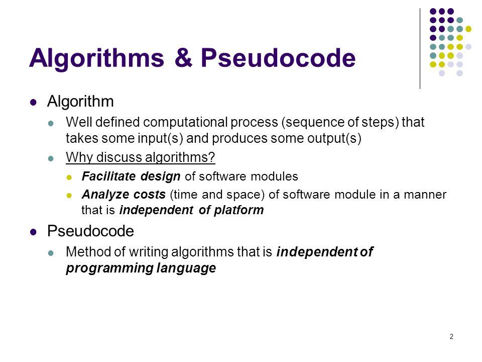 Algorithms & Pseudocode