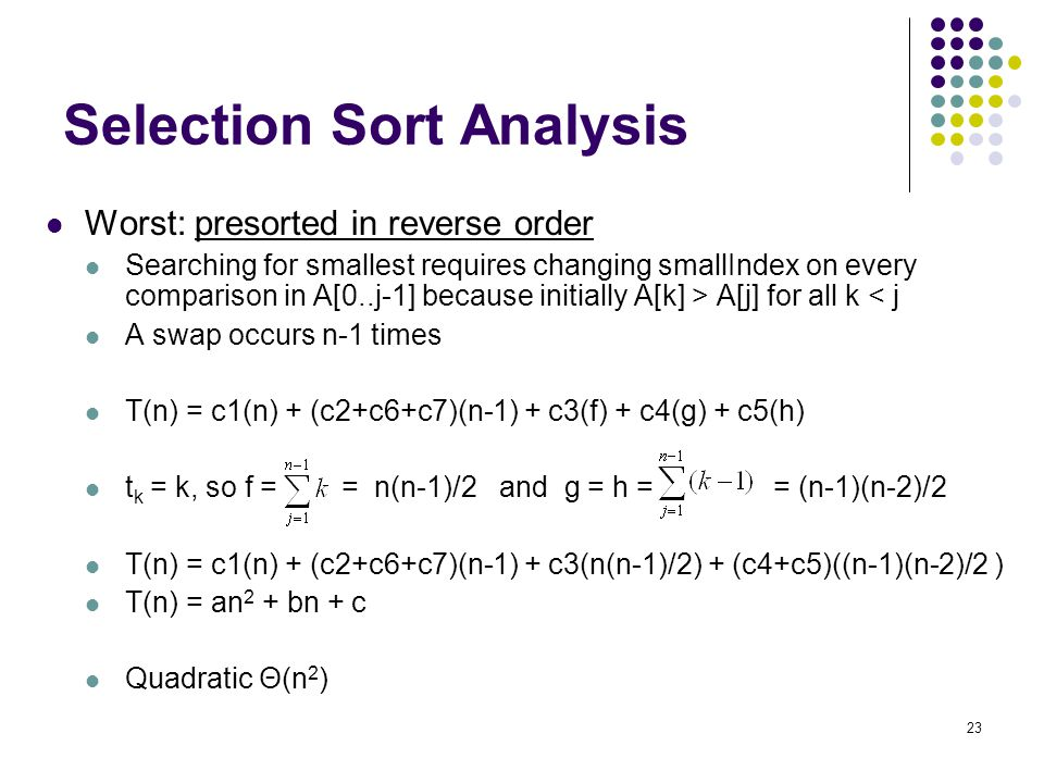 Selection Sort Analysis
