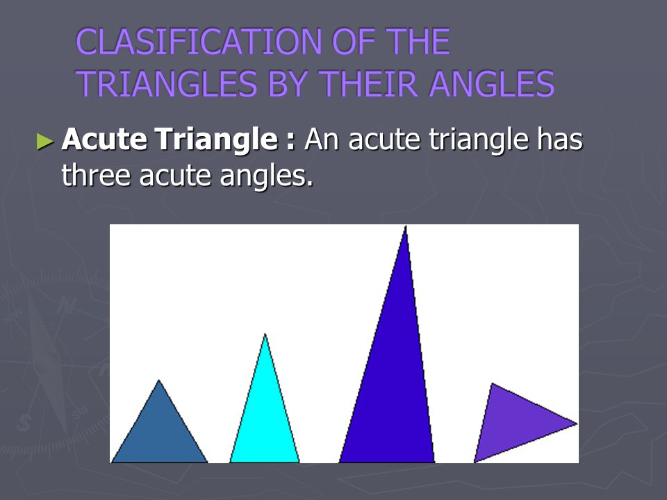 CLASIFICATION OF THE TRIANGLES BY THEIR ANGLES